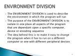 environment division
