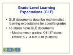 grade level learning expectations gle