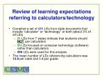 review of learning expectations referring to calculators technology