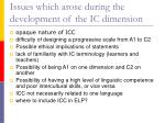 issues which arose during the development of the ic dimension