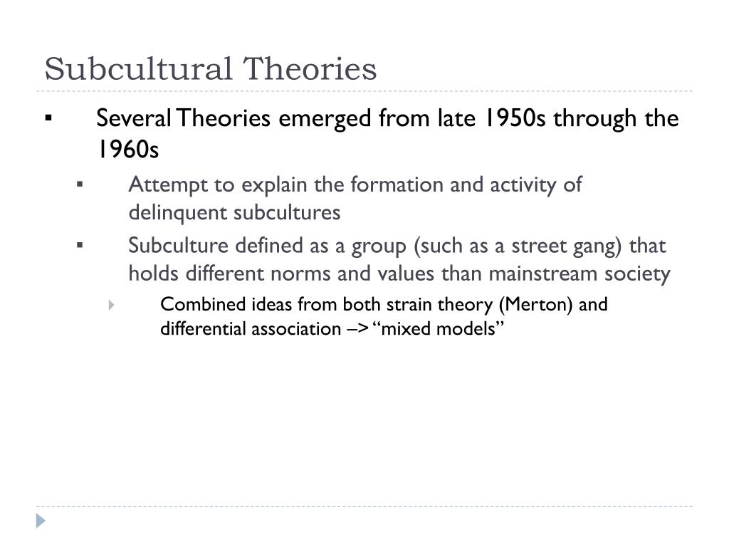 subcultural theories l.