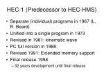 hec 1 predecessor to hec hms