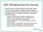 2009 tsa national security overview