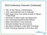 2010 conference overview continued