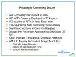 passenger screening issues