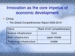 innovation as the core impetus of economic development5