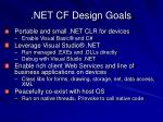 net cf design goals