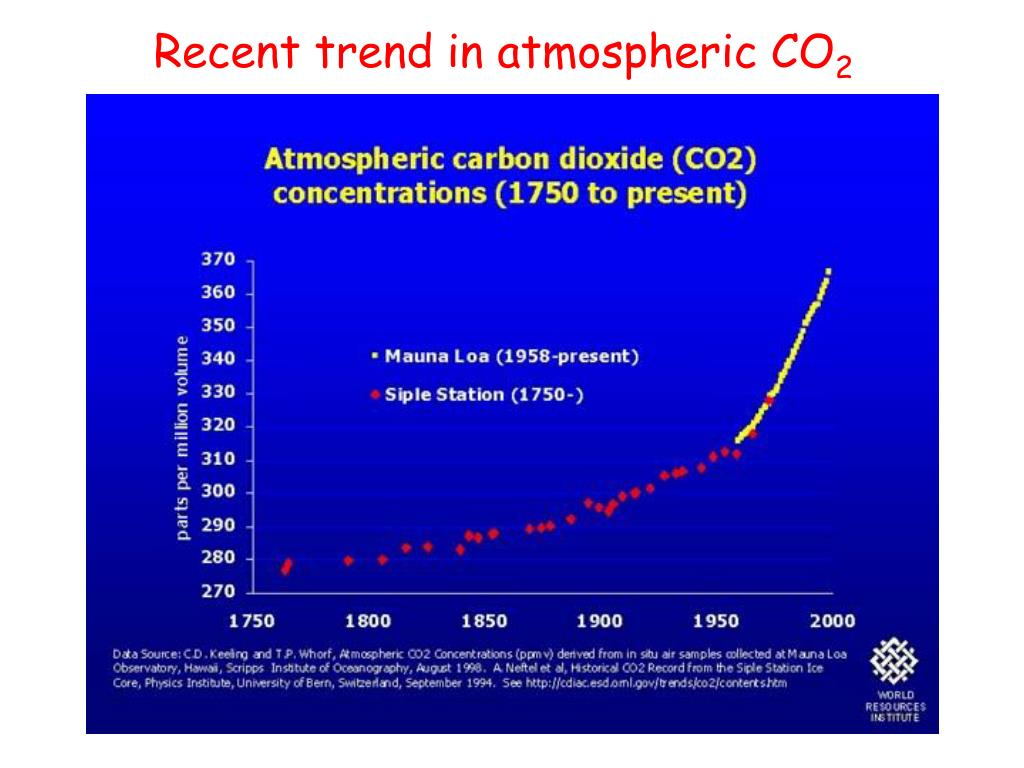 Recent trend in atmospheric CO