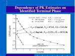 dependency of pk estimates on identified terminal phase