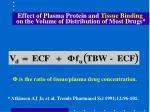 effect of plasma protein and tissue binding on the volume of distribution of most drugs