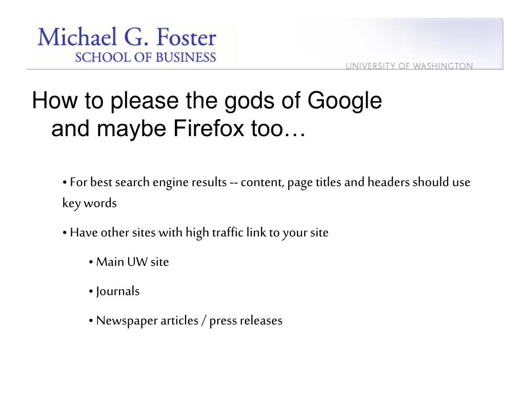 How to please the gods of Google