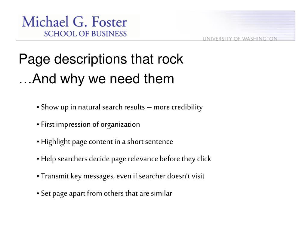 Page descriptions that rock