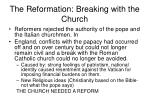 the reformation breaking with the church
