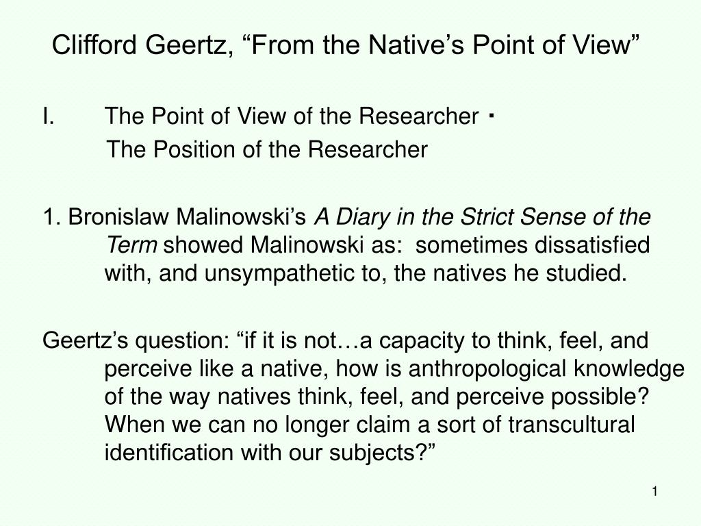 clifford geertz from the native s point of view l.