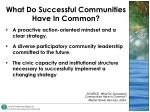 what do successful communities have in common