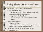 using classes from a package