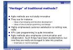 heritage of traditional methods