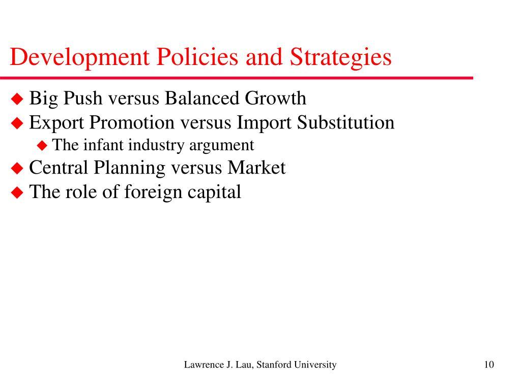 Development Policies and Strategies