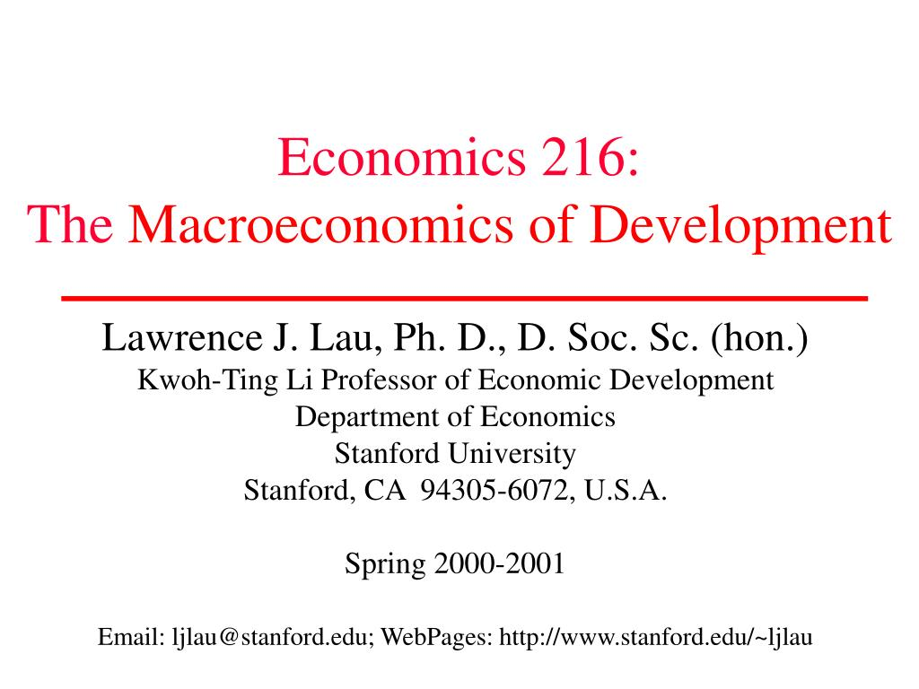 economics 216 the macroeconomics of development l.