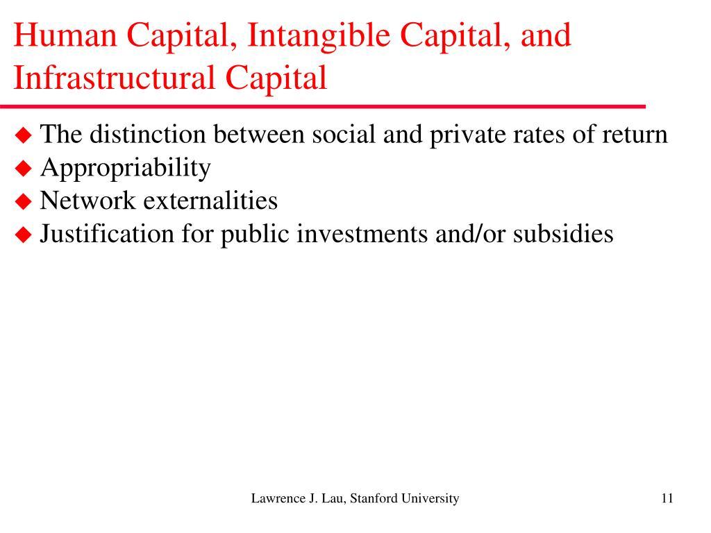 Human Capital, Intangible Capital, and Infrastructural Capital