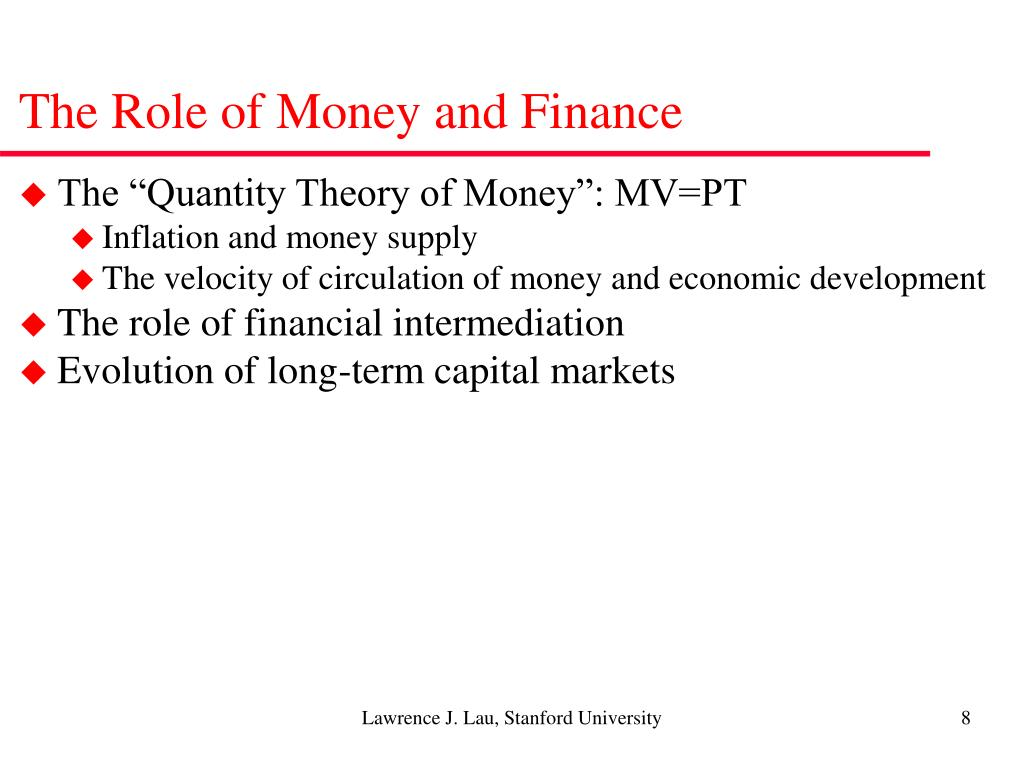 The Role of Money and Finance