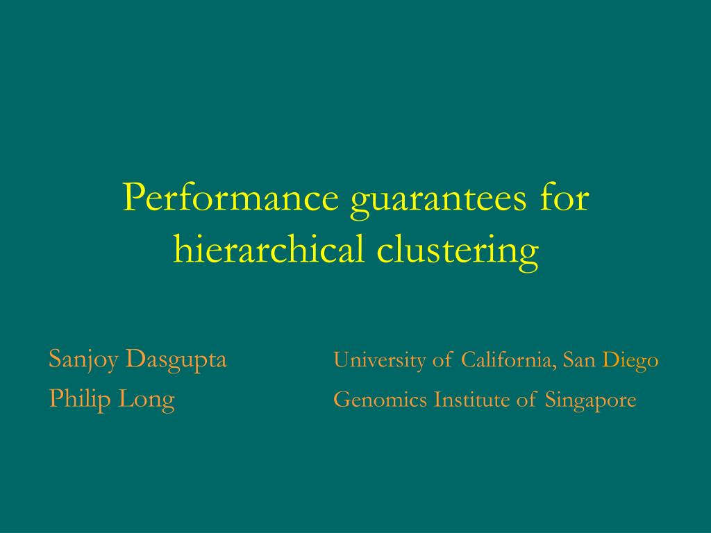 performance guarantees for hierarchical clustering l.