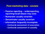 post marketing data caveats