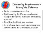 converting requirements fear of the unknown
