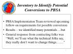 inventory to identify potential conversions to pbsa