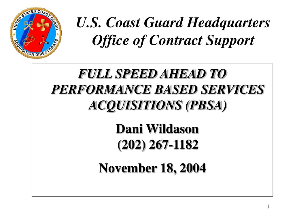u s coast guard headquarters office of contract support l.