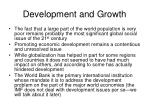 development and growth