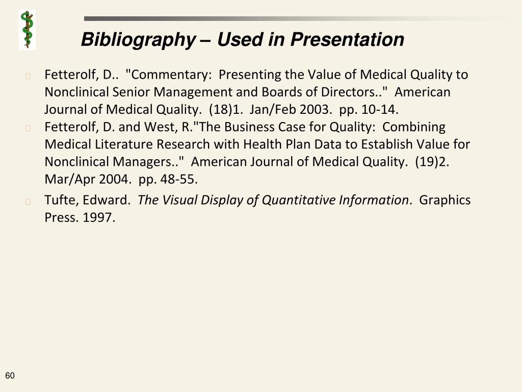 Bibliography – Used in Presentation