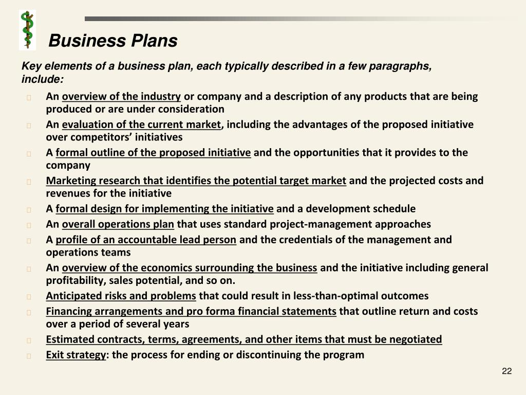Key elements of a business plan, each typically described in a few paragraphs, include: