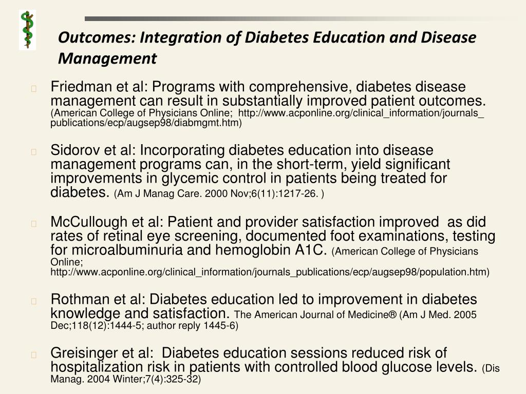 Outcomes: Integration of Diabetes Education and Disease Management