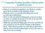 comparing trading securities with securities available for sale