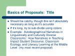 basics of proposals title
