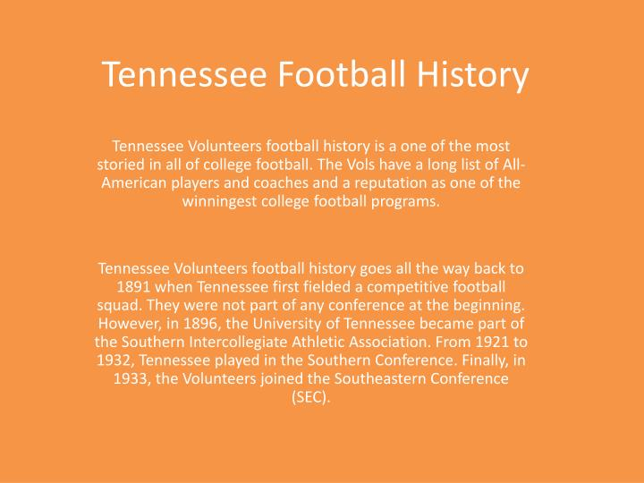 Ppt Tennessee Football History Powerpoint Presentation Id 237120