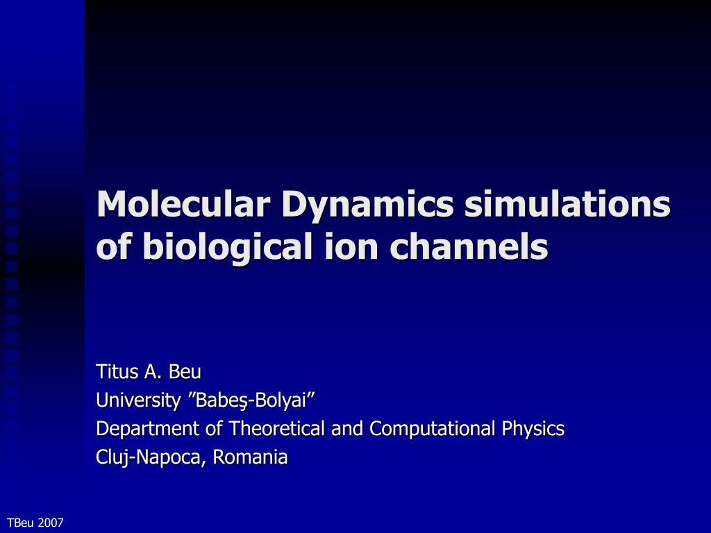 molecular dynamics simulations of biological ion channels l.