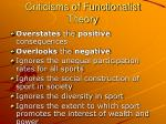 criticisms of functionalist theory