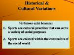 historical cultural variations