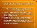 studies of sport experiences