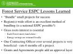 forest service espc lessons learned