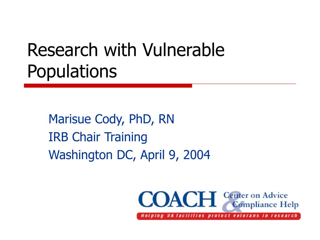 research with vulnerable populations l.