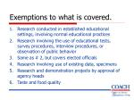 exemptions to what is covered