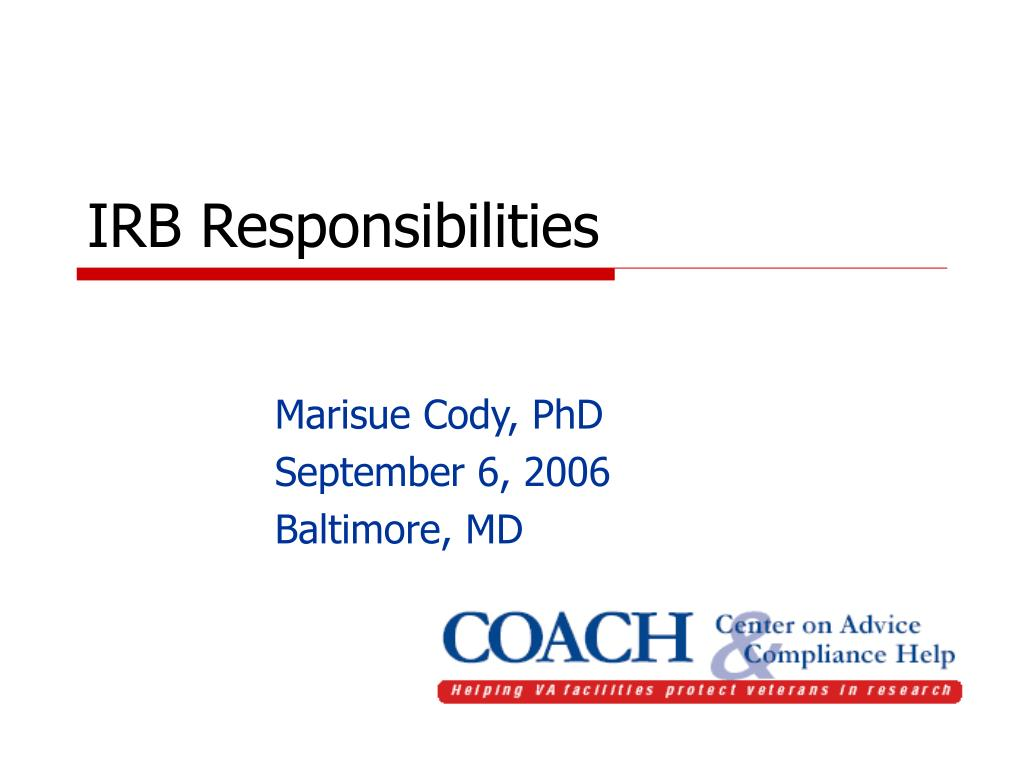 irb responsibilities l.