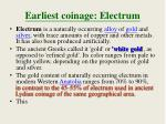 earliest coinage electrum