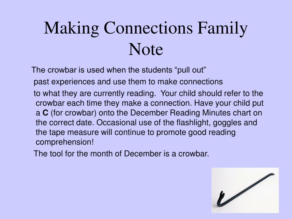 Making Connections Family Note