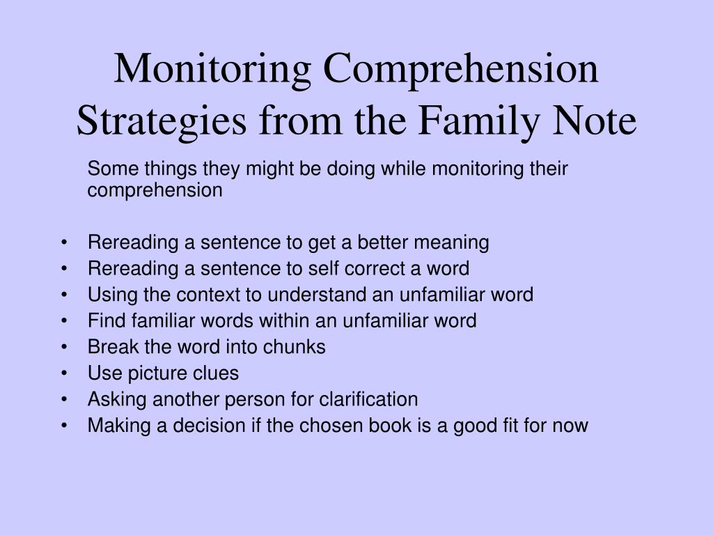 Monitoring Comprehension Strategies from the Family Note