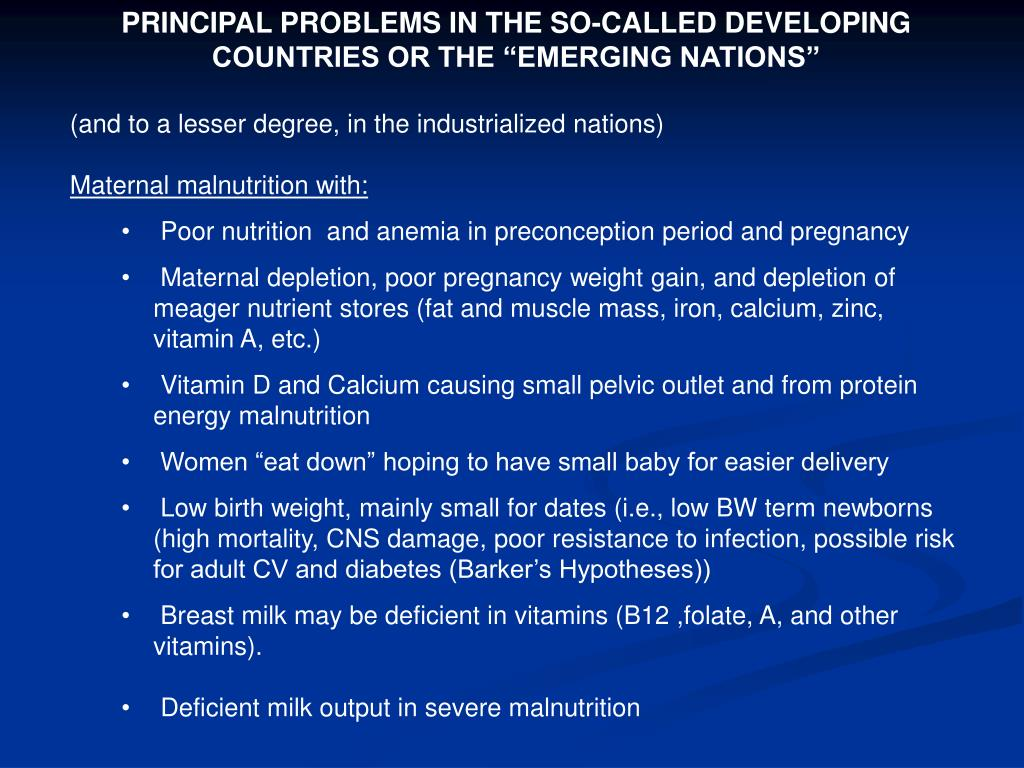 "PRINCIPAL PROBLEMS IN THE SO-CALLED DEVELOPING COUNTRIES OR THE ""EMERGING NATIONS"""