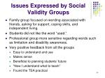 issues expressed by social validity groups